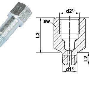 NS100-125 M6x1 M/F Steel Extension Piece - 57.5mm-0